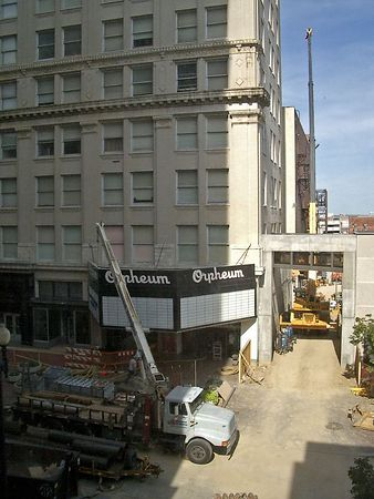 <font size=3>An overhead walkway is being built to connect the Orpheum theatre to the OPPD parking garage across the street.  The theatre end will be atop that concrete structure over the alley.  Photo was taken from the spot where the West end of the walkway will connect.</font>