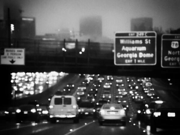 Morning commute through downtown Atlanta