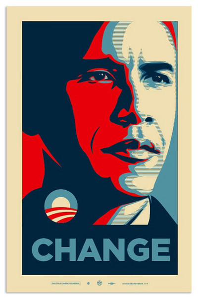 """Shepard Fairey's Barack Obama """"Change"""" Poster<br />  <a href=""""http://obeygiant.com/"""">http://obeygiant.com/</a><br /> This second series was taken at the Manchester rally in September, after the Democratic nomination.  The rally geared up supporters for the homestretch to the election.   Meghan and I zipcar'd up to Manchester together to hear the speech."""