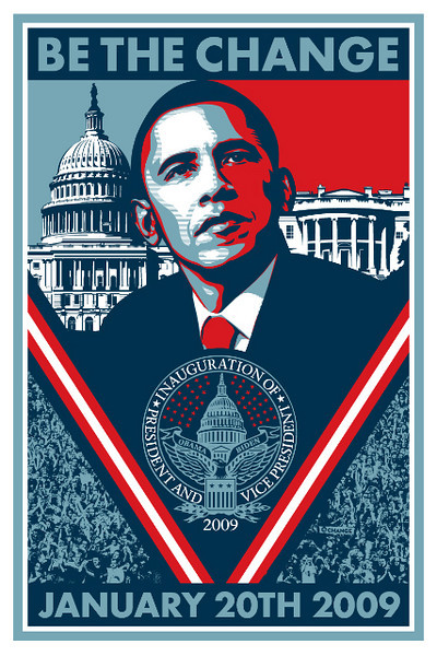 """Shepard Fairey's Barack Obama """"Inauguration"""" Poster<br />  <a href=""""http://obeygiant.com/"""">http://obeygiant.com/</a>"""
