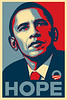 "Shepard Fairey's Barack Obama ""Hope"" Poster<br />  <a href=""http://obeygiant.com/"">http://obeygiant.com/</a>"