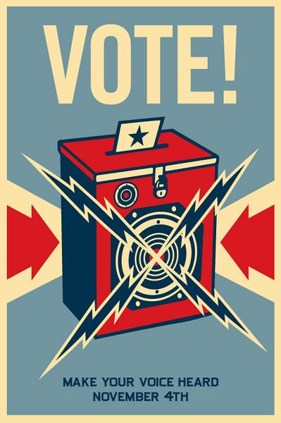 "Shepard Fairey's Barack Obama ""Vote!"" Poster<br />  <a href=""http://obeygiant.com/"">http://obeygiant.com/</a>"