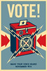 "Shepard Fairey's Barack Obama ""Vote!"" Poster<br />  <a href=""http://obeygiant.com/"">http://obeygiant.com/</a>"
