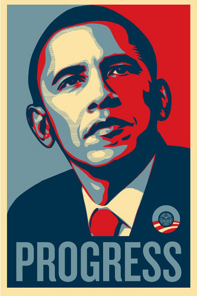 """Shepard Fairey's Barack Obama """"Progress"""" Poster<br />  <a href=""""http://obeygiant.com/"""">http://obeygiant.com/</a><br /> This first series was taken at the Boston rally on the night prior to the Massachusetts Primary.  The night was cold and the line was quite long, even crossing over Fort Point Channel.  Despite that I was able to get in and hear Barack speak.  I listened from the edges of the hall and took pictures of other Obama supporters listening to his inspiring speech."""