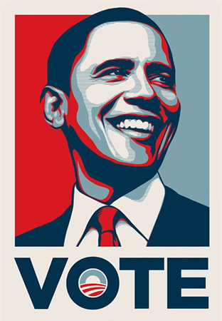 "Shepard Fairey's Barack Obama ""Vote"" Poster<br />  <a href=""http://obeygiant.com/"">http://obeygiant.com/</a>"