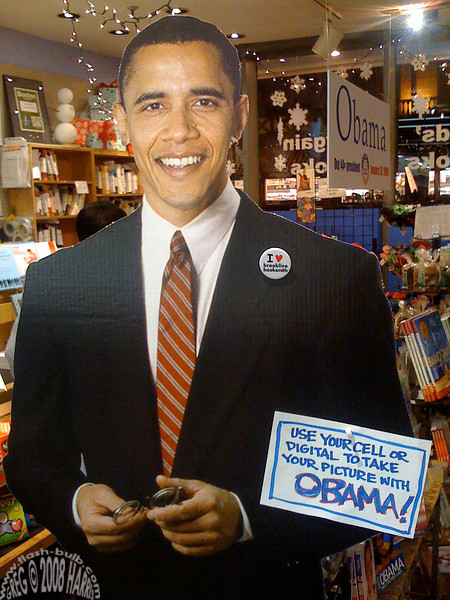 Brookline Booksmith's Barack Obama Cutout, Brookline, MA 2009<br /> Brookline is excited about the Inauguration!