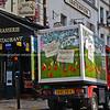 French bread delivery truck outside Montmatre restaurant., Paris.