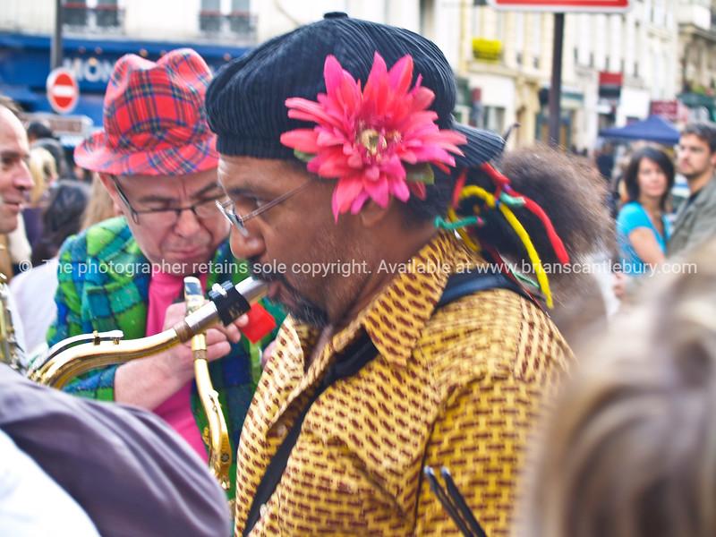 Musicians, close-up saxophonist, Montmatre, Paris, International City.