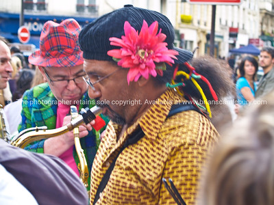 Musicians, close-up saxophonist, Montmatre, Paris, International City.