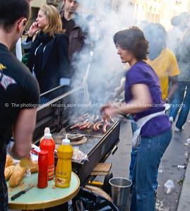 Cooking on street, Montmatre, Paris, International City.