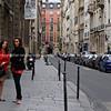 Street scene, two women, Paris, International City.