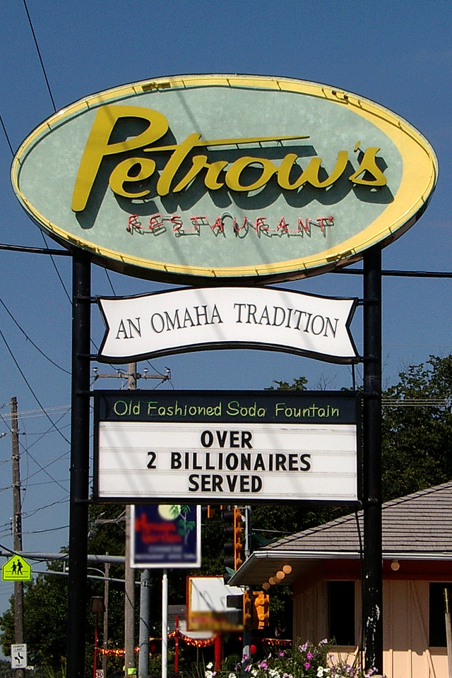 """<br><font size=""""3"""">Petrow's is a local restaurant.  Omaha resident Warren Buffet and Microsoft's Bill Gates recently stopped by.</font>"""