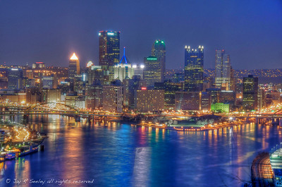 Pittsburgh at night from the west side