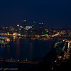 Pittsburgh at night.  West end bridge can be seen in the lower left.