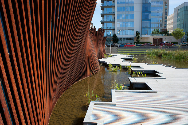 An interesting park in the north end of the Pearl District recreates the wetlands once found in the Willamette River Estuary.