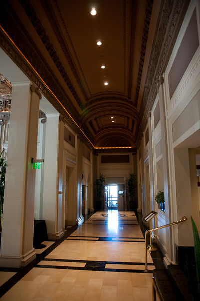 Lobby of the Governor Hotel, where we stayed in Portland at a fabulous price, thanks to Hotwire.