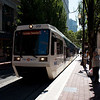 A Portland MAX train at Pioneer Courthouse Square in downtown Portland.