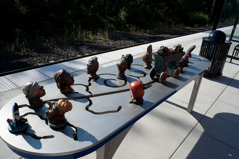 An intriguing piece of interactive public art, at a station on Portland's new WES commuter rail service.