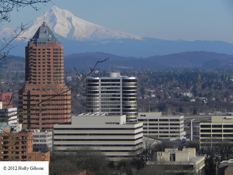 KOIN building and Mt. Hood