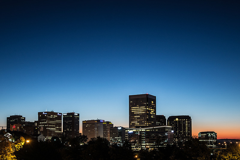Richmond City skyline at dawn