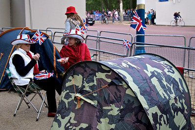 Evening before the Royal Wedding – cowboy hats and Union Jacks.