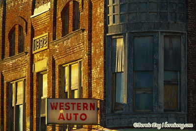 The old Western Auto store at sunrise in downtown Saginaw, Michigan.