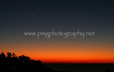 A San Francisco sunset as seen from Panorama Drive in Twin Peaks.