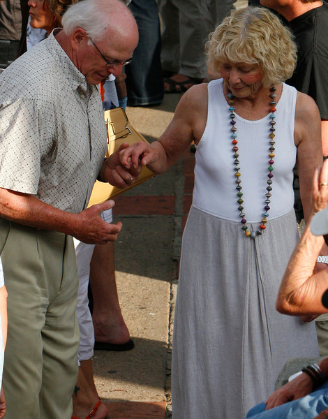 The elderly couple enjoyed the music