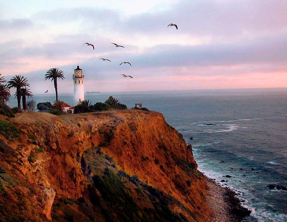 Historic Point Vicente Lighthouse captured at day's end. The lighthouse was established in 1926 as a guide through a disastrous stretch of costal waters along the Palos Verdes / San Pedro California Harbor.