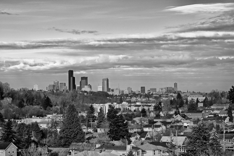 Seattle Downtown skyline, Beacon Hill in the foreground, winter 2010