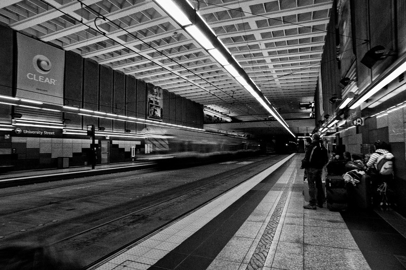 Seattle's Light Rail train pulls into University Street station in the transit tunnel