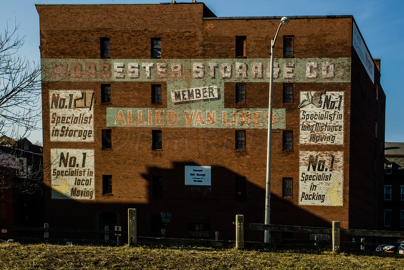 Worcester Storage Co. painted brick sign. Southside of the building.