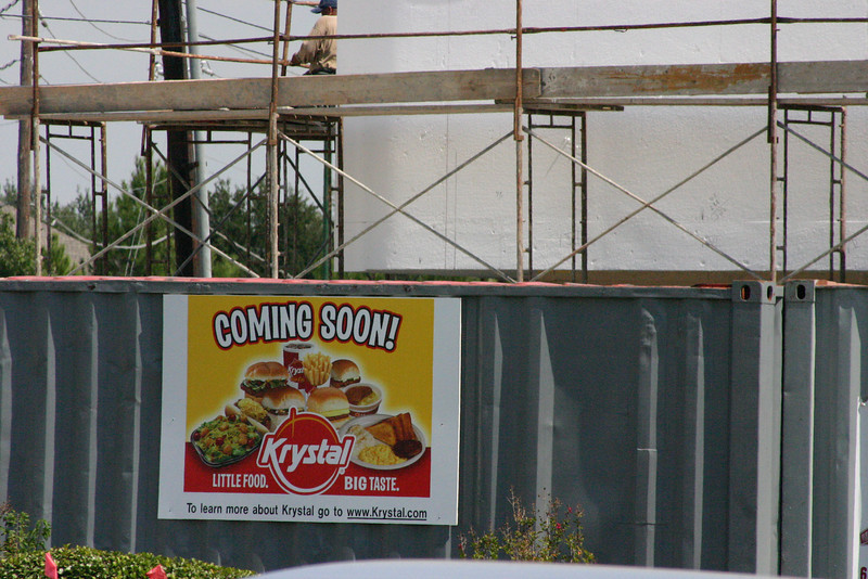 Very Good News Where once a Burger King stood, empty even during the lunch rush, up from the ashes rises a Krystal Burger