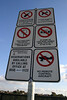 Skateboarding Permitted I strongly suspect that the permission for skateboarding is, well, less-than-official. I also want to know how someone is expected to get alcohol into the park during the 12 hours per day when it is permitted if it can\'t be in the parking lot at any time
