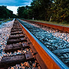 looking down the tracks as they head out of town in Helena, Alabama
