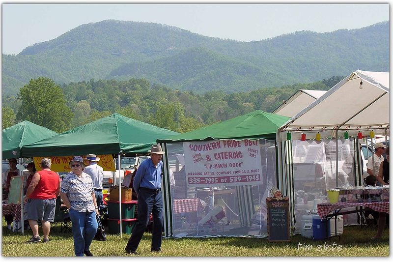 BBQ contest area with Smokies in background