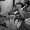 Jaydon enjoying his fish nugget