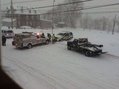 Tanya Engle Bermudez submitted this photo via Facebook of West Pottsgrove PD stuck in the snow in front of her house.