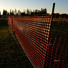 Orange Fence at Sunset