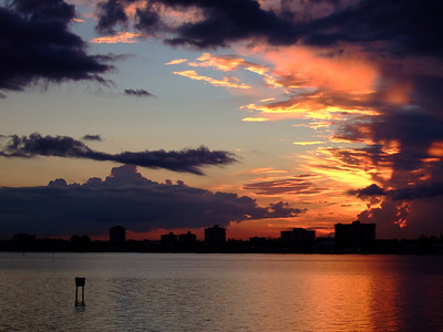 Sky is on fire, North Bay Harbor Island, Miami, Florida.