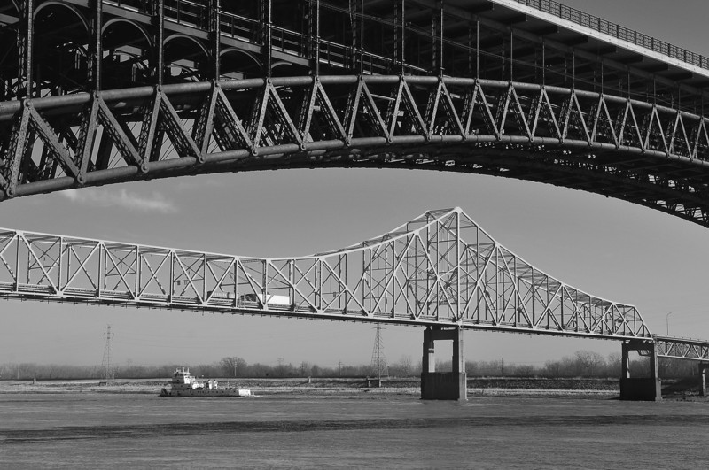 Martin Luther King Bridge  and Eads Bridge
