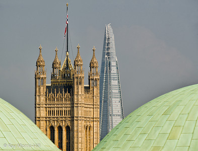 The domes of Westminster Cathedral (foreground), Houses of Parliament, the Shard