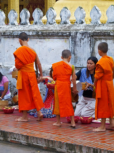 Luang Prabang, alms giving, Laos, Aug 2012