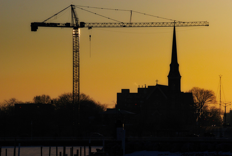 Building up - I was early hitting the road so I could afford a shoot in Sarnia, border of Port Huron, MI. This crane does not work for the Church at all, this is just an illusion! Have a great day. Cheers - JY