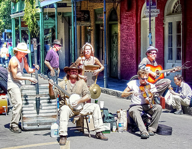 HDR of a band of street musician's playing in the France Quarter in New Orleans.