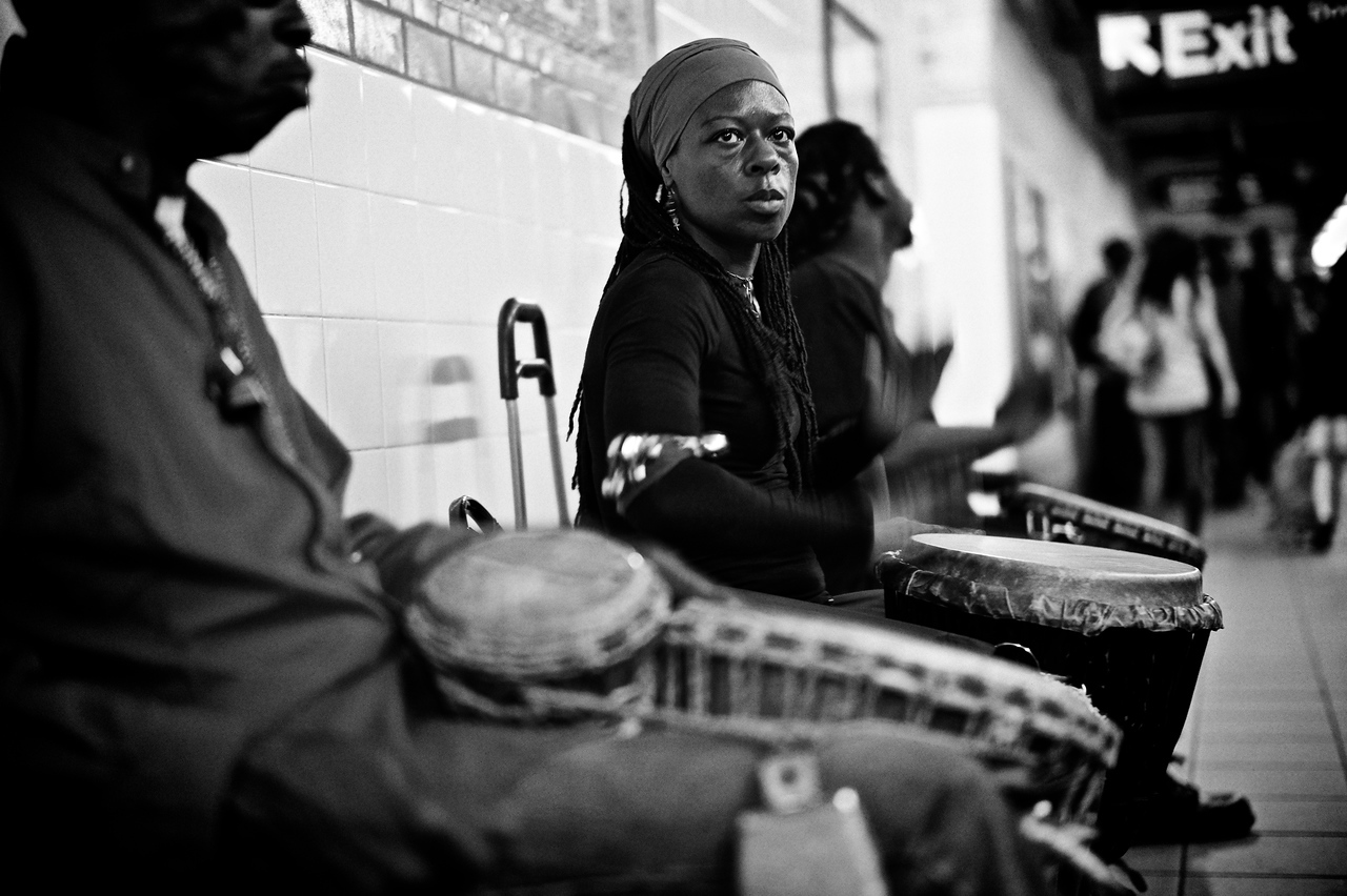 Subway musicians performing for tips.<br /> (New York)
