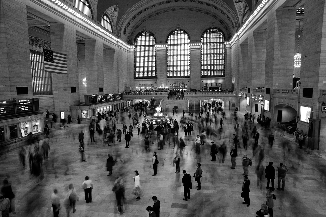 People in a whirl as they travel through Grand Central Station.<br /> (New York)