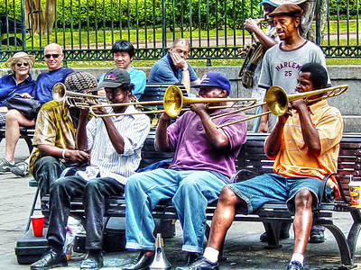 HDR photo of a Jazz band playing in the France Quarter in New Orleans.