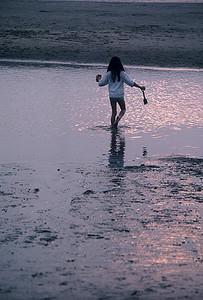 Little girl on the beach, Blackpool