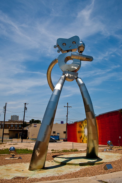 Traveling Man Statue - Deep Elum part of Dallas Texas.